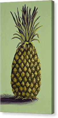 Pineapple On Green Canvas Print by Darice Machel McGuire