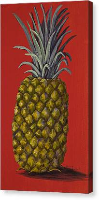 Pineapple On Red Canvas Print by Darice Machel McGuire