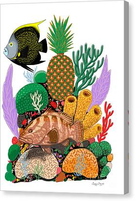 Pineapple Reef Canvas Print by Carey Chen