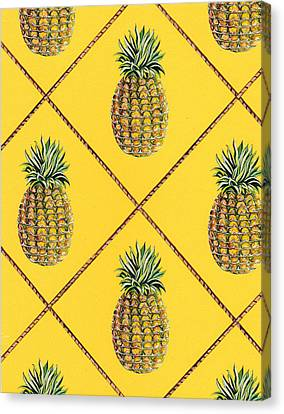 Pineapple Squared Textile Pattern Canvas Print by John Keaton