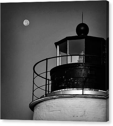 Piney Point Lighthouse And Moon In Black And White Canvas Print by Bill Cannon