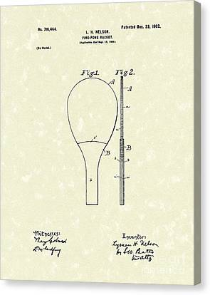 Ping-pong Racket 1902 Patent Art Canvas Print by Prior Art Design