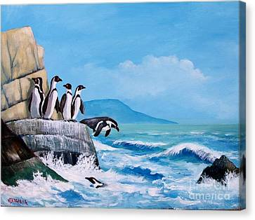 Pinguinos De Humboldt Canvas Print