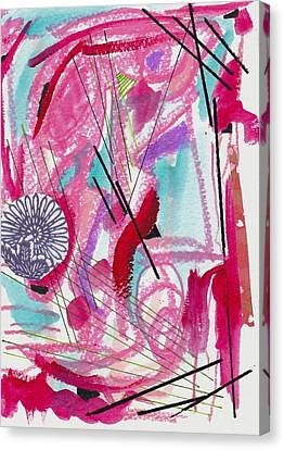 Pink And Black Lines Canvas Print