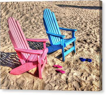 Pink And Blue Beach Chairs With Matching Flip Flops Canvas Print