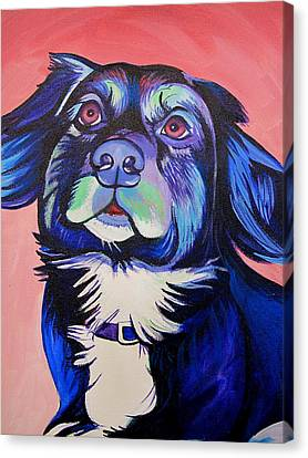 Canvas Print featuring the painting Pink And Blue Dog by Joshua Morton