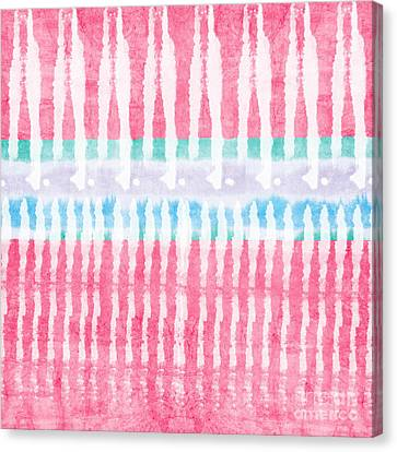 Pink And Blue Tie Dye Canvas Print by Linda Woods