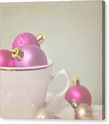 Pink And Gold Christmas Baubles In China Cup. Canvas Print by Lyn Randle