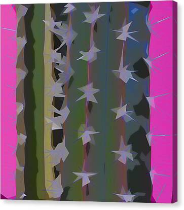 Pink And Green Cactus Collage Canvas Print by Carol Leigh