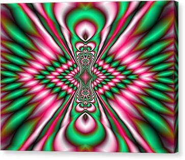 Pink And Green Fractal Kaleidoscope  Canvas Print by Gina Lee Manley