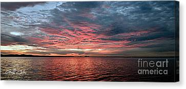 Pink And Grey At Sea - Sunrise Panorama  Canvas Print by Geoff Childs
