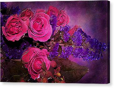 Pink And Purple Floral Bouquet Canvas Print by Phyllis Denton