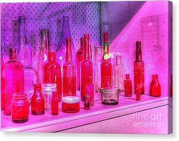 Pink And Red Bottles Canvas Print by Kaye Menner