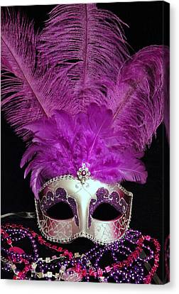 Pink And Silver Mardi Gras Mask Canvas Print