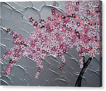 Pink And White Cherry Blossom Canvas Print by Cathy Jacobs