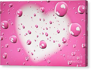 Pink And White Heart Reflections In Water Droplets Canvas Print by Sharon Dominick