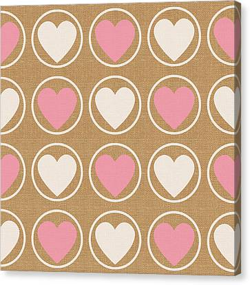 Pink And White Hearts Canvas Print by Linda Woods