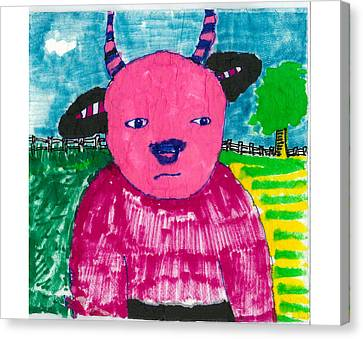 Canvas Print featuring the drawing Pink Baby Bull by Don Koester