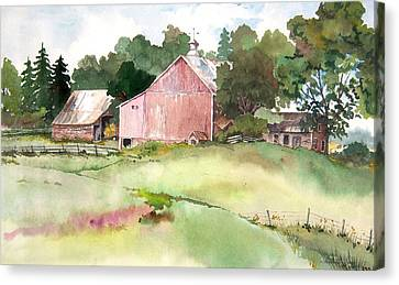 Canvas Print featuring the painting Pink Barn by Susan Crossman Buscho