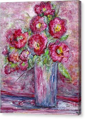 Pink Beauties In A Blue Crystal Vase Canvas Print by Eloise Schneider