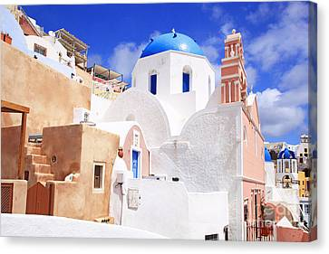 Pink Bell Tower And Blue Dome Church Canvas Print by Aiolos Greek Collections