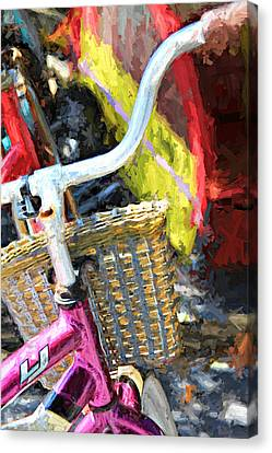 Pink Bicycle With A Basket Canvas Print by Lynn Jordan