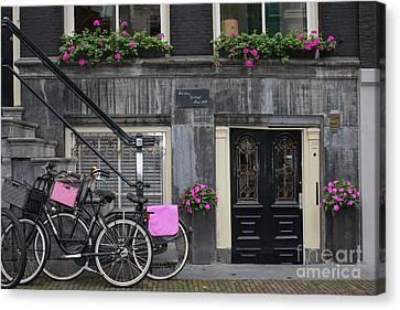 Pink Bikes Of Amsterdam Canvas Print