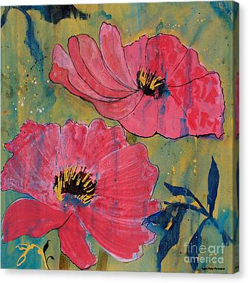 Canvas Print featuring the painting Pink Blossoms by Robin Maria Pedrero