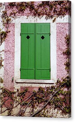 Canvas Print featuring the photograph Pink Building With Green Shutters by Mary Bedy