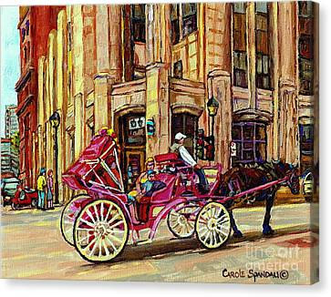 Montreal Canvas Print - Carriage Ride Rue Notre Dame Paintings Of Old Montreal Caleche Ride Old Port Quebec Art C Spandau by Carole Spandau
