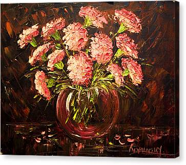 Pink Carnations Paint Along With Nancy Pbs Canvas Print by    Michaelalonzo   Kominsky
