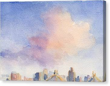 Pink Cloud And 59th St Bridge Watercolor Painting Of Nyc Canvas Print by Beverly Brown