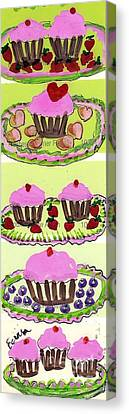 Canvas Print featuring the painting Pink Cupcake Delights by Ecinja Art Works