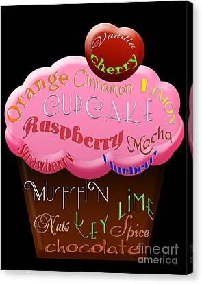 Pink Cupcake Typography Canvas Print