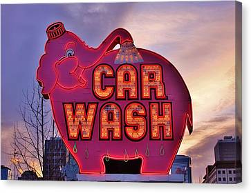Pink Elephant Car Wash Canvas Print by Benjamin Yeager