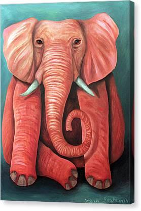 Pink Elephant Edit 2 Canvas Print by Leah Saulnier The Painting Maniac