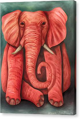 Pink Elephant Edit 3 Canvas Print by Leah Saulnier The Painting Maniac