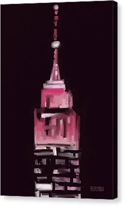 Pink Empire State Building New York At Night Canvas Print by Beverly Brown