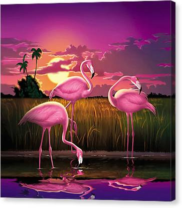 Pink Flamingos At Sunset Tropical Landscape - Square Format Canvas Print by Walt Curlee
