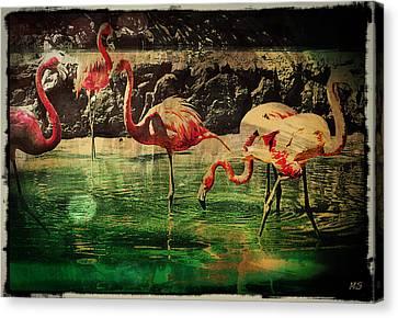 Canvas Print featuring the digital art Pink Flamingos - Shangri-la by Absinthe Art By Michelle LeAnn Scott