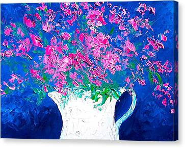 Pink Flowers In A Jug Canvas Print by Jan Matson