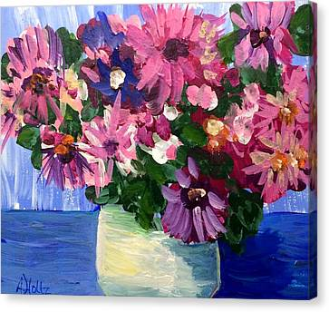 Canvas Print featuring the painting Pink Flowers In Pot by Arlene Holtz