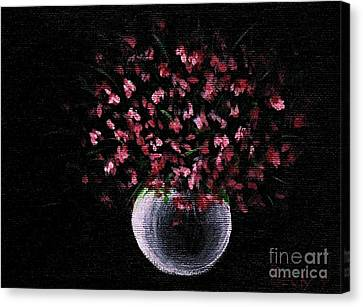 Canvas Print featuring the painting Pink Flowers In Vase  by Becky Lupe