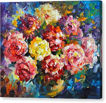 Pink Flowers Canvas Print by Leonid Afremov