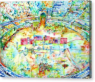 Concert Images Canvas Print - Pink Floyd Live At Pompeii Watercolor Painting by Fabrizio Cassetta