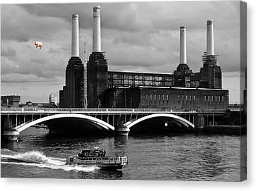 White Canvas Print - Pink Floyd's Pig At Battersea by Dawn OConnor