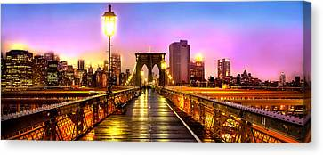 Pink Fog Of New York City Canvas Print by Az Jackson