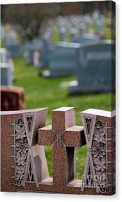 Pink Granite Tombstone Canvas Print by Amy Cicconi