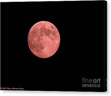 Mary King Canvas Print - Pink Harvest Moon by Mary  King