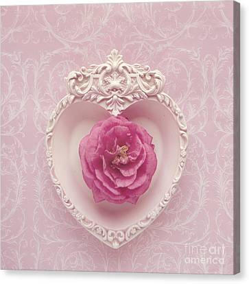 Pink Heart - Pink Camellia Canvas Print by Cindy Garber Iverson
